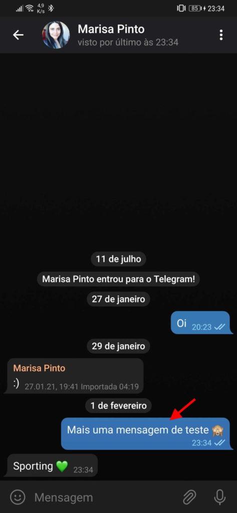 Telegram editar mensagens contatos original