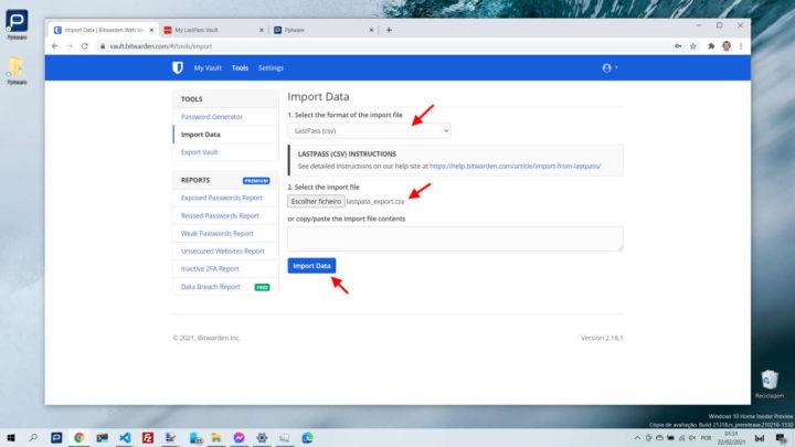 LastPass Bitwarden passwords importar serviço
