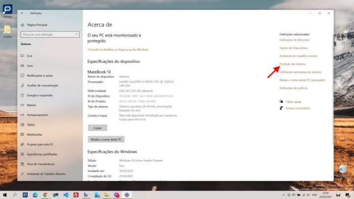 proteger ponto restauro Windows 10 segurança