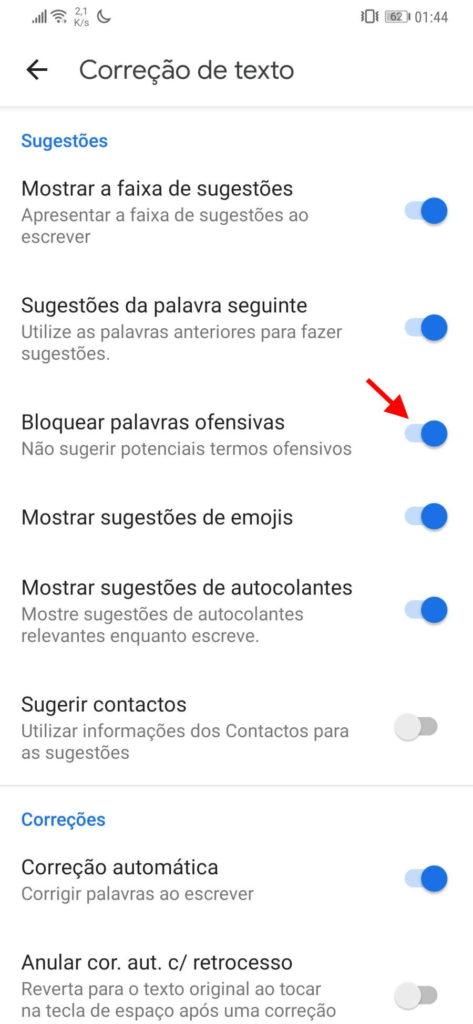 teclado Google palavras ofensivas Android