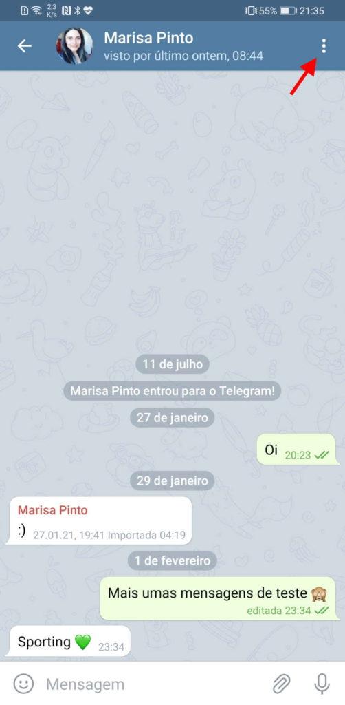 Telegram destruição mensagens menu opções