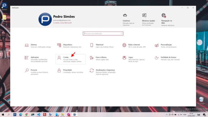 Windows 10 login opção sistema PC