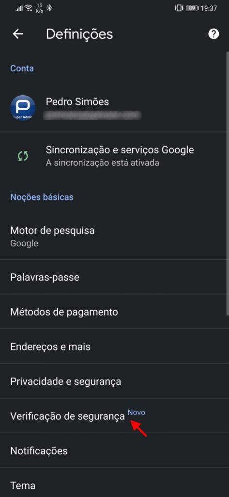 Chrome Android segurança Google browser