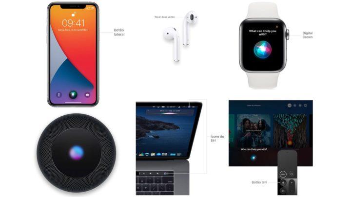 Imagem dispositivos Apple com Siri
