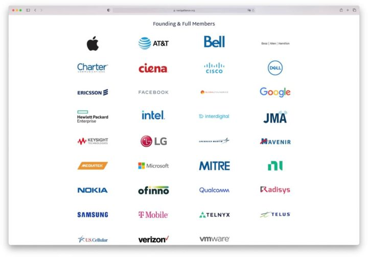 Imagem das empresas que fazem parte com a Apple na Next G Alliance