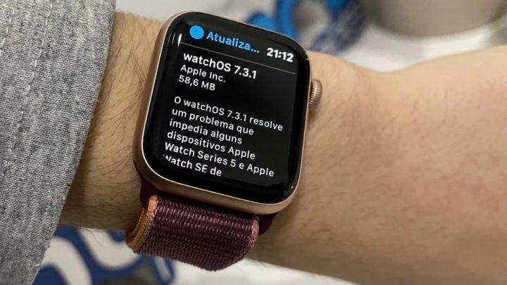 Imagem Apple Watch Série 5 com atualização watchOS 7.3.1