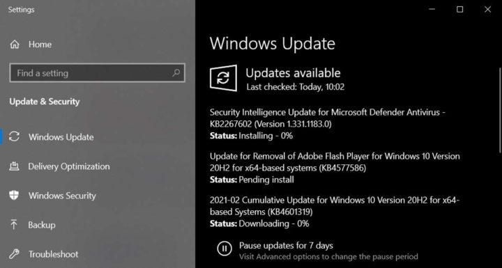 Windows 10 Flash Microsoft atualização KB4577586