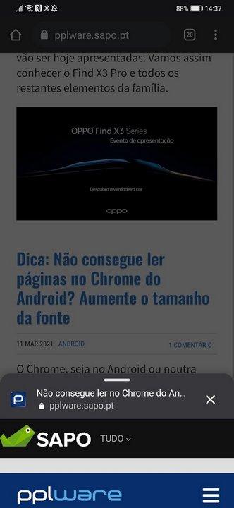 Android: Antes de abrir um site no Chrome, faça uma pré-visualização