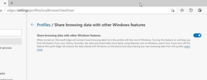 Microsoft Edge Windows 10 dados browser