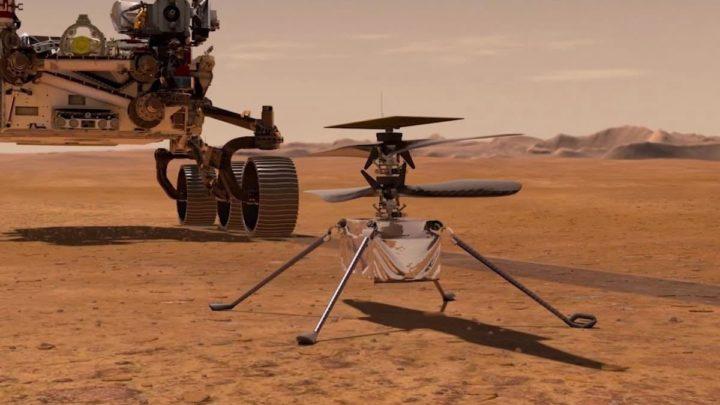 Ilustração do helicóptero Ingenuity da NADA que voará em Marte perto do rover Perseverance