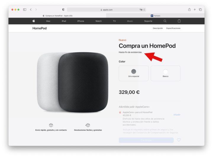 Imagem loja online da Apple a mostrar o HomePod