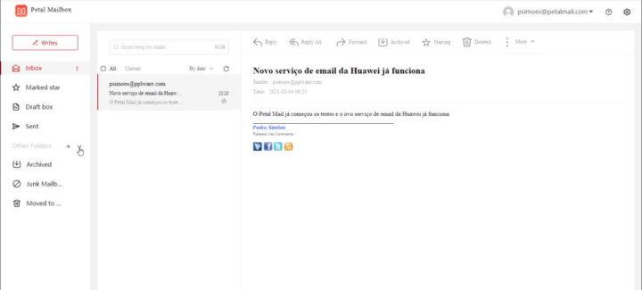 Petal Mail Huawei serviços novidades