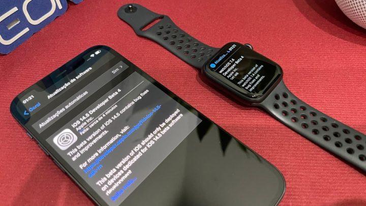Imagem iPhone e Apple watxh a atualizar com iOS 14.5 beta 4 e watchOS 7.4 beta 44
