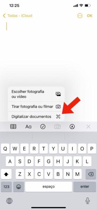 Imagem Notas com a opção digitalizar documentos no iPhone