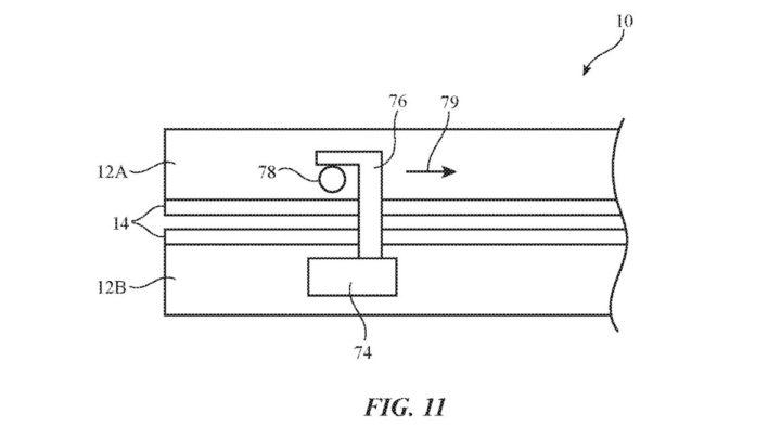 Ilustração patente do iPhone com ecrã dobrável