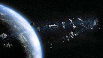Ilustralção de lixo espacial na órbita da Terra