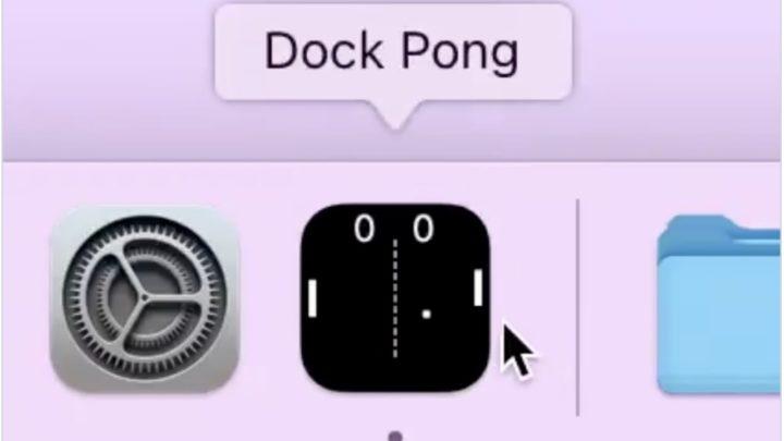 Imagem do jogo Pong na dock do macOS usando os ícones