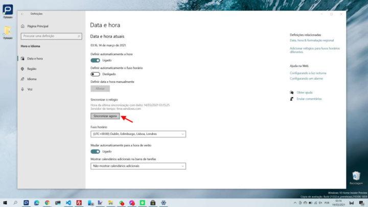 Windows 10 hora acertar relógio