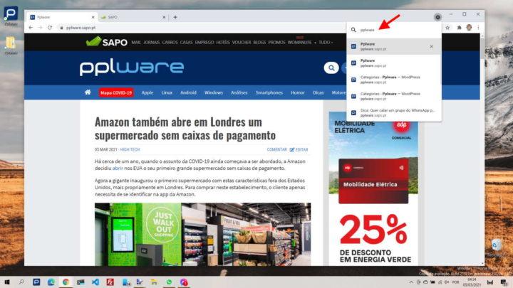 separadores Chrome browser Google pesquisa