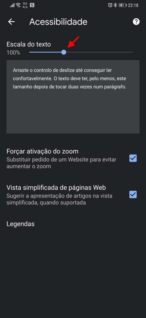 Chrome tamanho fonte Android sites