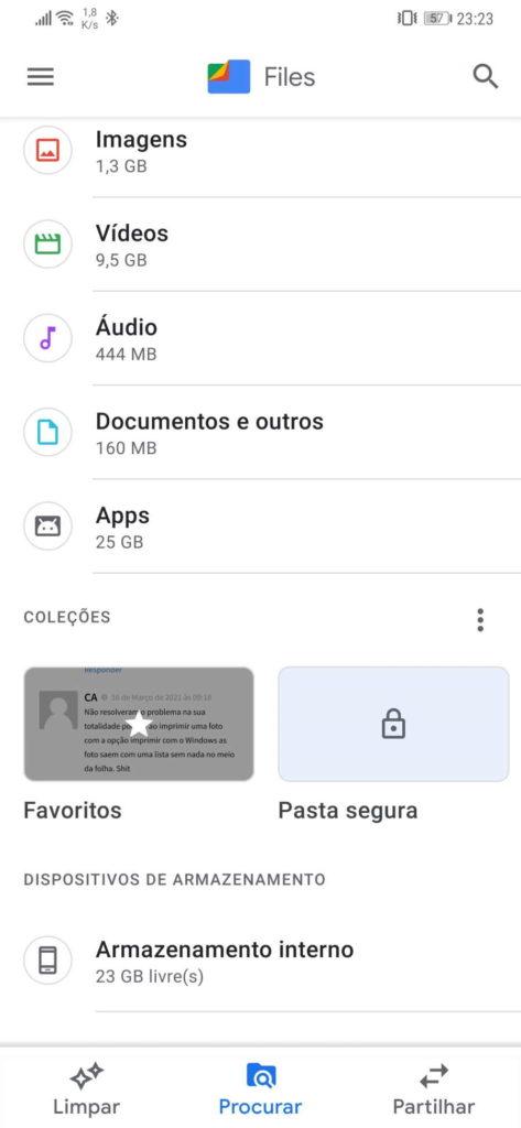 Google Files ficheiros Favoritos Android