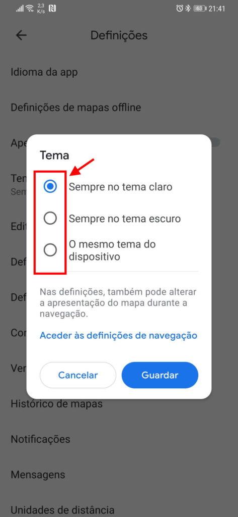 Google Maps dark mode Android novidade