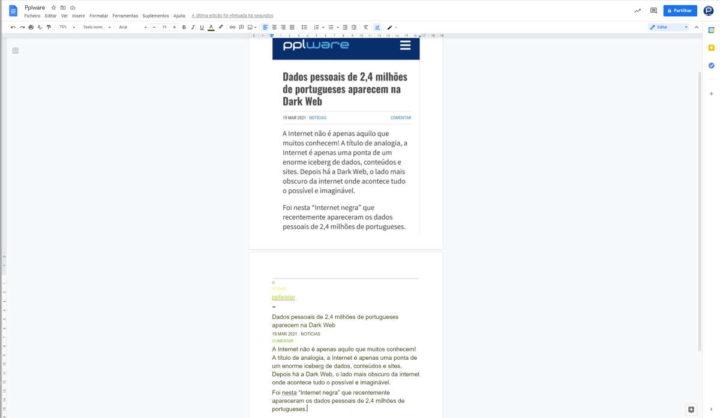 Google Docs texto imagem converter