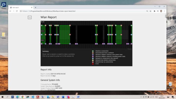 Windows 10 WiFi problemas relatório PC