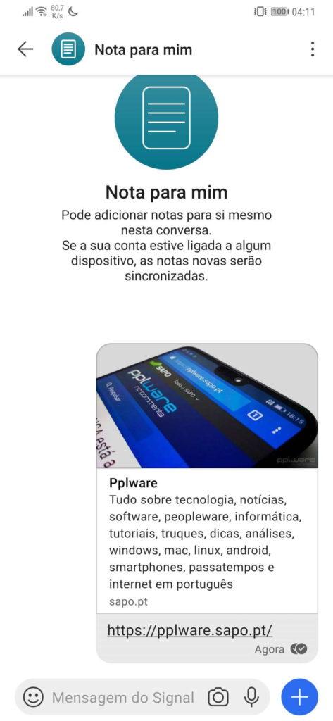 Signal notas lembretes contacto mensagem