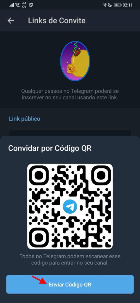 Telegram código QR grupo convidar