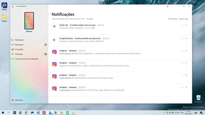 Windows 10 Your Phone arranque desativar app
