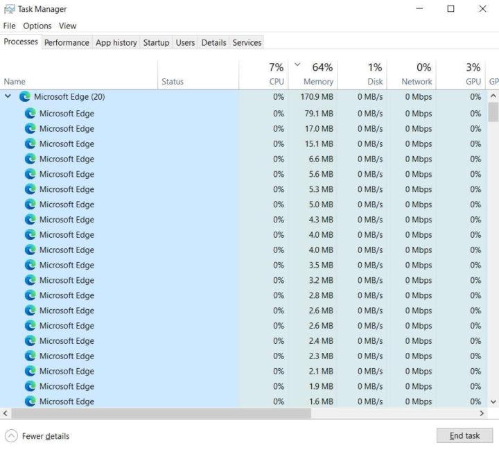 Windows 10 Edge browser recursos processos