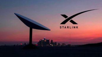 Ilustração satélites e internet Starlink