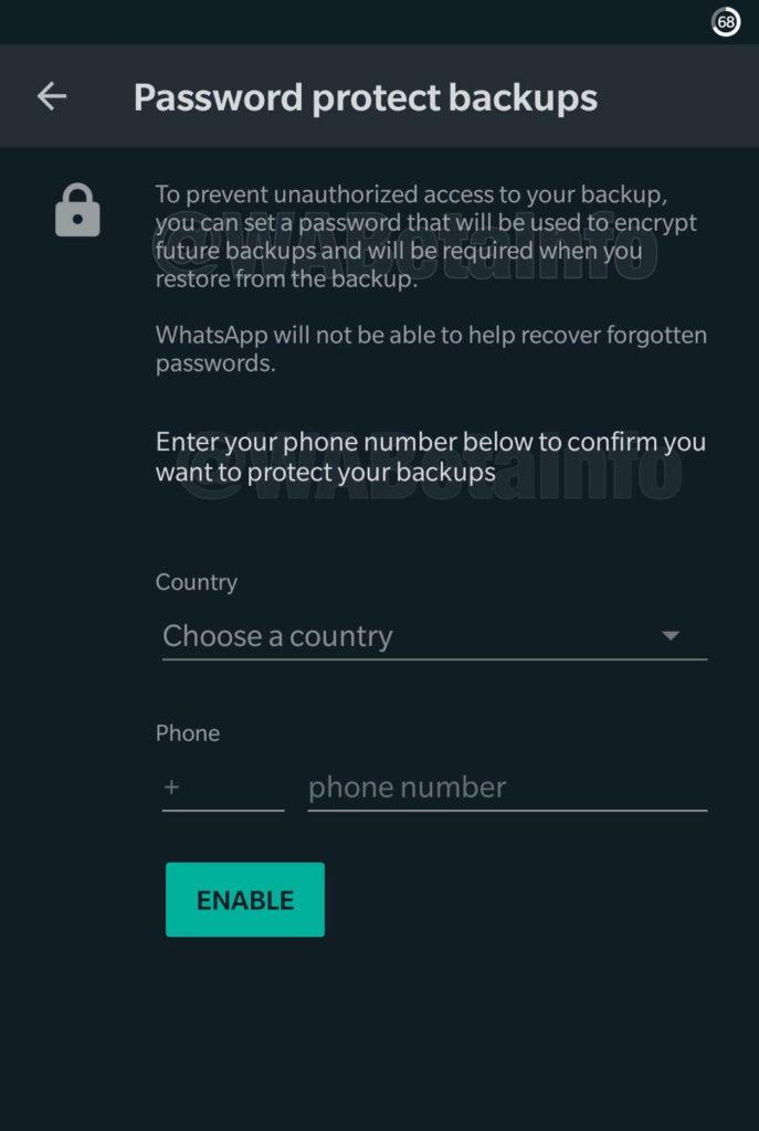WhatsApp backups Cloud password segurança