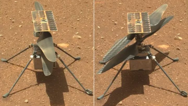 Imagem do drone Ingenuity pousado no solo de Marte