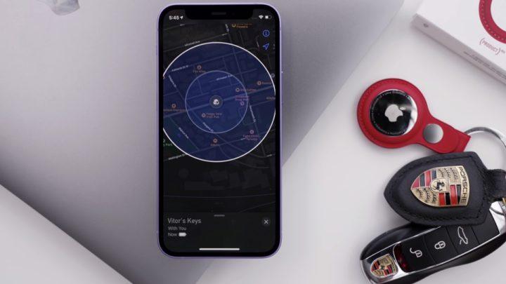 Imagem AirTags da Apple com indicação de localização