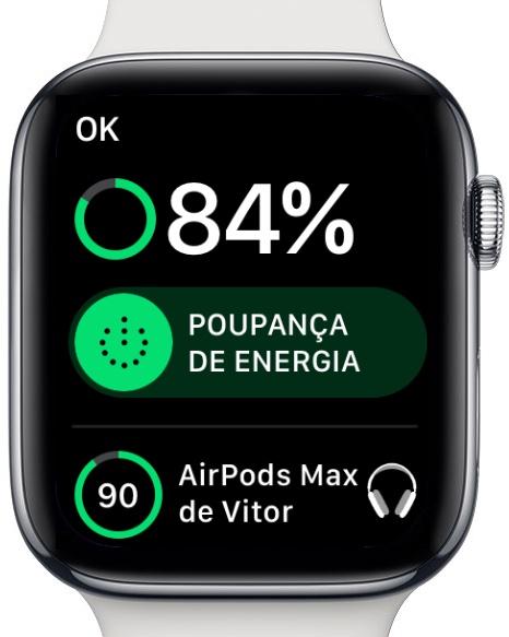Imagem Apple Watch em modo Poupança de energia