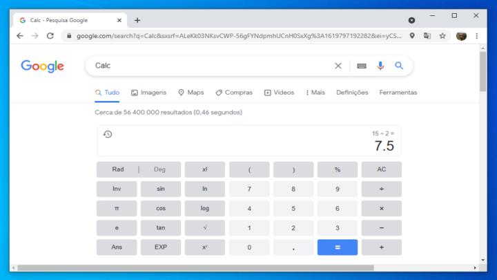 Imagem calculadora Google