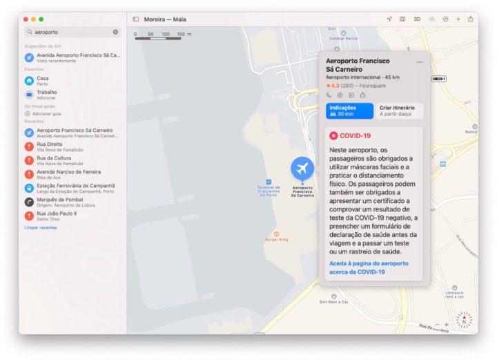 Imagem do serviço de mapas da Apple, o Apple Maps, com informação das medidas contra a COVID-19