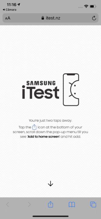 Imagem da app iTest da Samsung