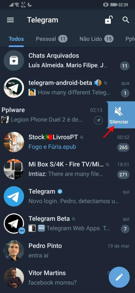 Telegram conversa silenciar simples grupo