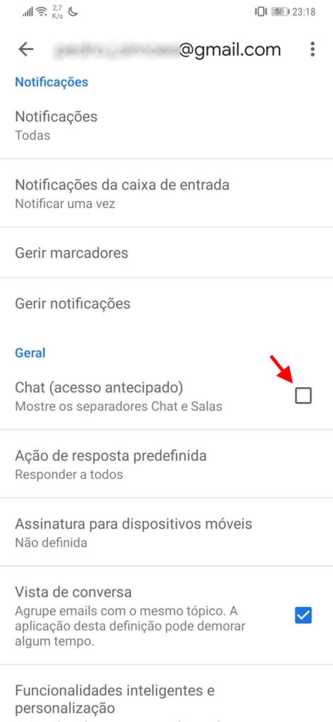 chat Google Gmail Android ativar