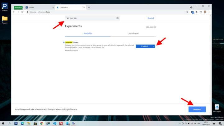 Chrome Google browser partilhar link