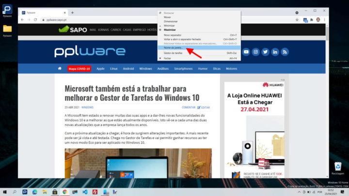 Chrome nome janela separador browser