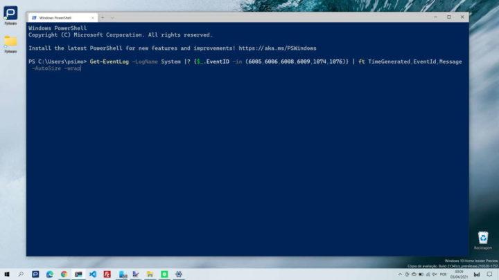 Windows 10 powershell reiniciar dados informação