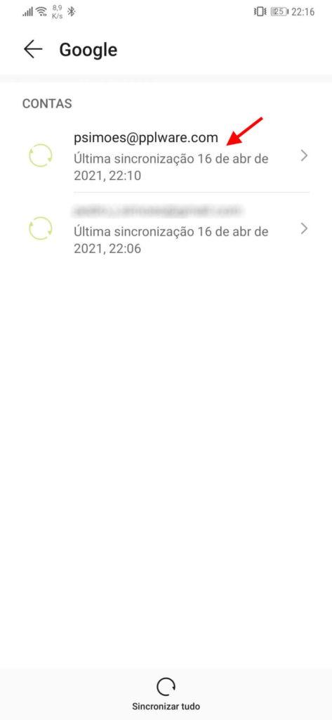 Datos de sincronización de la cuenta de Google Android