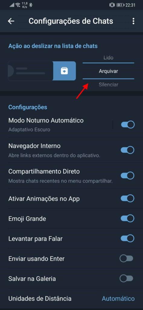 Telegram swipe conversas utilizador ações