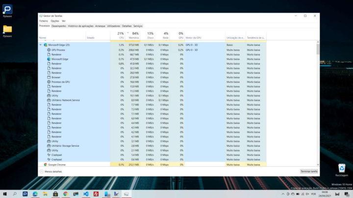 Windows 10 Microsoft Gestor Tarefas processos