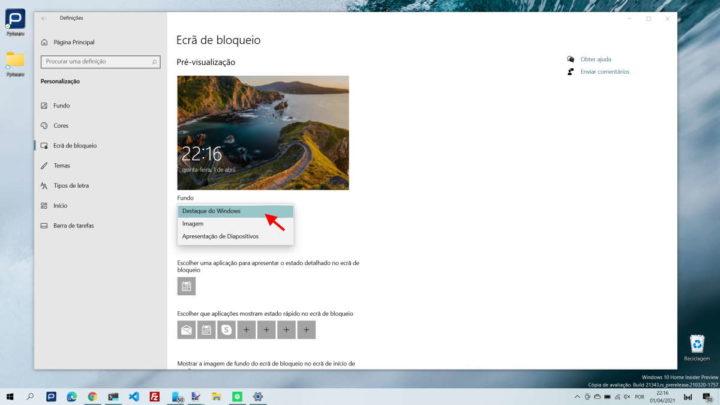 Windows 10 imagens ecrã bloqueio Bing