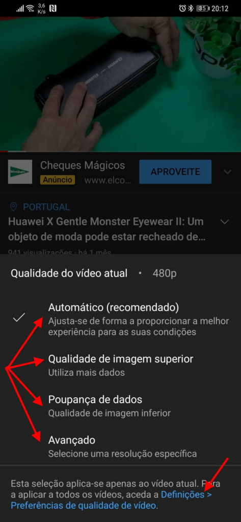 YouTube vídeo Android Google qualidade